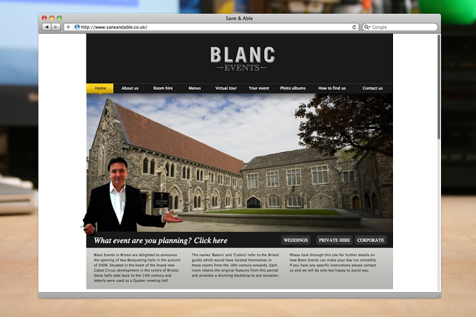 Blanc Events website