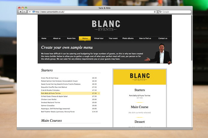 Blanc Events website menu builder