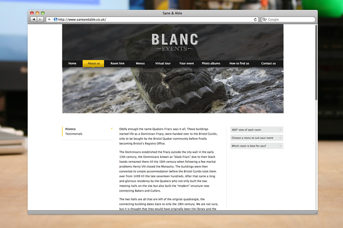 Blanc Events website about