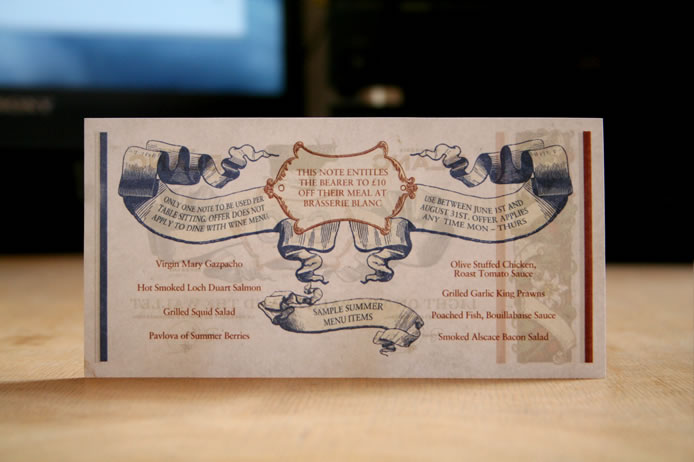 Brasserie Blanc voucher £10 (back)