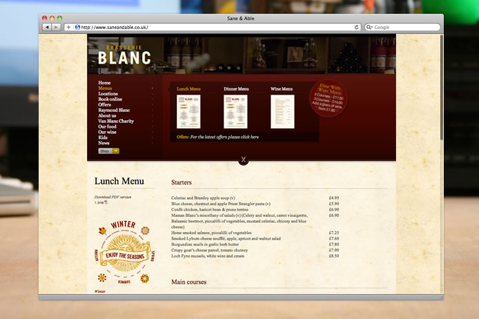 Brasserie Blanc menus