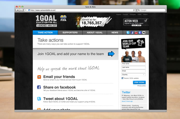 1GOAL website take action