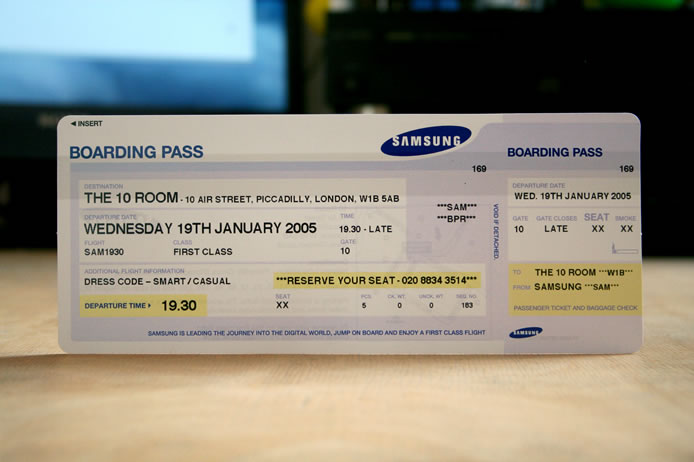 Samsung ticket invitation
