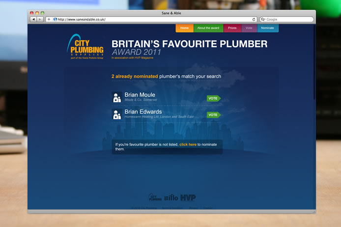 City Plumbing award 2011 nominated